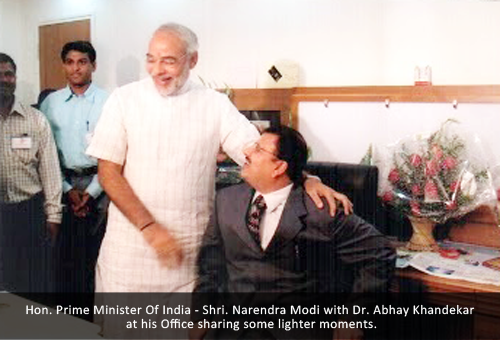 Hon. Prime Minister Of India - Shri. Narendra Modi with Dr. Abhay Khandekar at his Office sharing some lighter moments