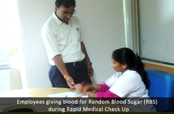 Employees giving blood for Random Blood Sugar (RBS)  during Rapid Medical Check Up