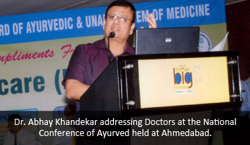 Dr.Abhay Khandekar addressing Doctors at the National Conference of  Ayurved held at Ahmedabad.