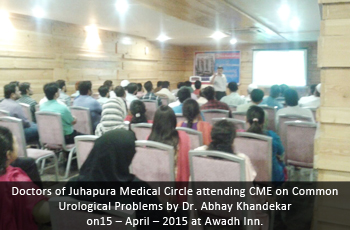 Doctors of Juhapura Medical Circle attending CME on Common Urological Problems by Dr. Abhay Khandekar on 15 – April – 2015 at Awadh Inn.