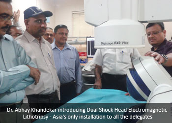 Dr. Abhay Khandekar introducing Dual Shock Head Electromagnetic Lithotripsy - Asia's only installation to all the delegates