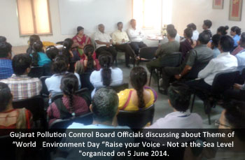 "Gujarat Pollution Control Board Officials discussing about Theme of ""World"