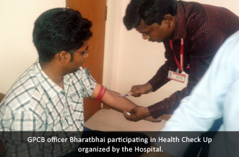 GPCB officer Bharatbhai participating in Health Check Up organized by the Hospital