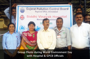 Group Photo during World Environment Day with Hospital & GPCB Officials