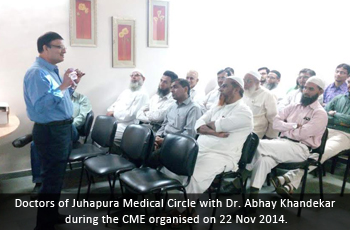Doctors of Juhapura Medical Circle with Dr. Abhay Khandekar during the CME organised on 22 Nov 2014.