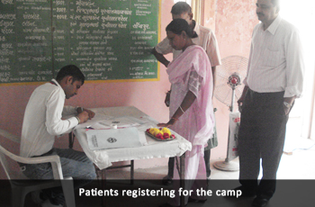 Patients registering for the camp