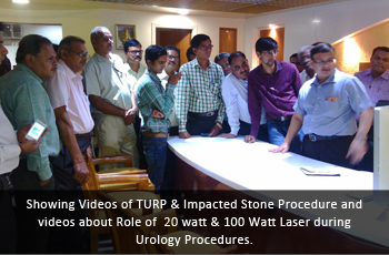 Showing Videos of TURP & Impacted Stone Procedure and videos about Role of  20 watt & 100 Watt Laser during Urology Procedures