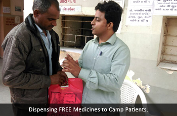 Dispensing FREE Medicines to Camp Patients.