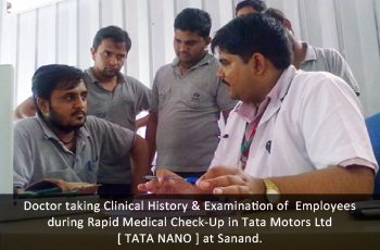 Doctor taking Clinical History & Examination of  Employees during Rapid Medical Check-Up in Tata Motors Ltd [ TATA NANO ] at Sanand.